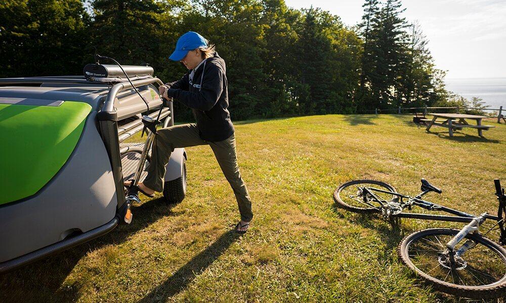 Road shower at Blomidon Provincial Park, Nova Scotia, Canada